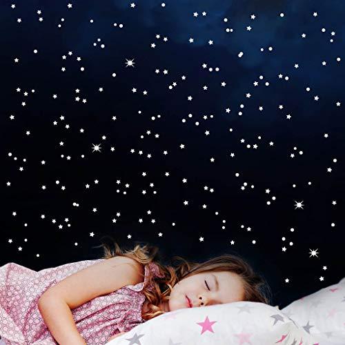 Wandtattoo Loft Leuchtaufkleber 350 Fluoreszierende Sterne und Punkte leuchten im Dunklen 10323