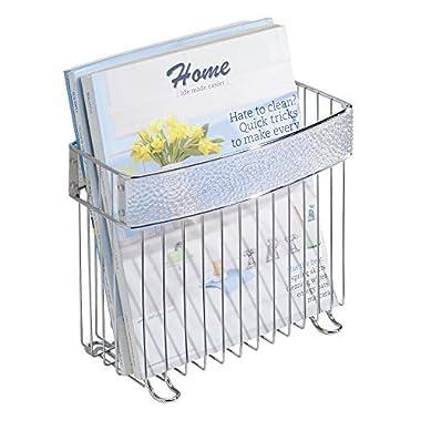 mDesign Newspaper and Magazine Holder for Bathroom, Office, Den - Clear/Chrome