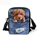 Coloranimal Women Small Messenger Bags Kids Cute Poodle Handbags for Girls