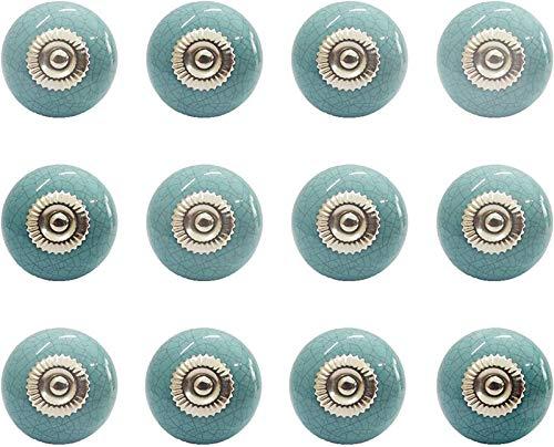 12 pomelli in ceramica con manico rotondo e vintage shabby chic per armadietti, mobili da cucina e bagno (azzurro)