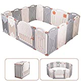 Baby Playpen 16 Panel Foldable Activity Center Safety Playard with Lock Door,Kid's Fence