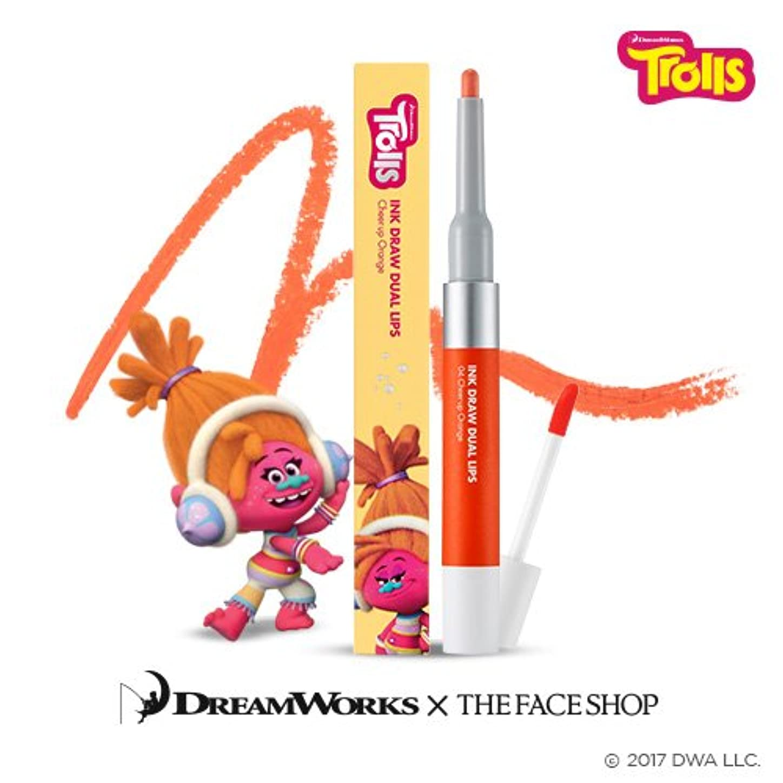 スローガンいたずら相談The Face Shop Ink Draw Dual Lip_Trolls Edition 04. Orange/ザ?フェイスショップ インクドローデュアルリップ_トロールエディション (04. Orange) [並行輸入品]