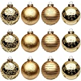 """12 Pcs Christmas Ball Ornaments Shatterproof Xmas Tree Decorations Seamless Painted Glass Hanging Christmas Balls Ornaments for Holiday Wedding Party Home Decor (75mm/2.95"""")"""
