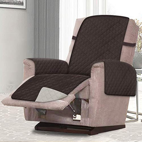 Rose Home Fashion Reversible Recliner Chair Cover, Chair Cover, Recliner Cover, Pet Cover for Chair, Furniture Protector, Machine Washable, Double Diamond Quilted(Recliner-Small:Chocolate/Beige)
