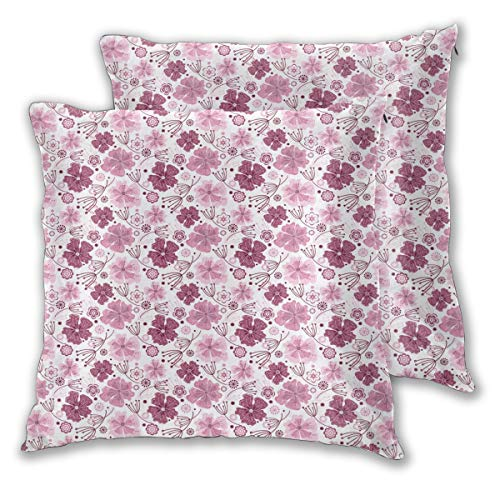 LISNIANY Cushion Cover,Purple Baroque Inspired Nature Print,Pillow Case Cover Square Cushion Cover for Sofa Car Home Bed Decor 45 x 45cm