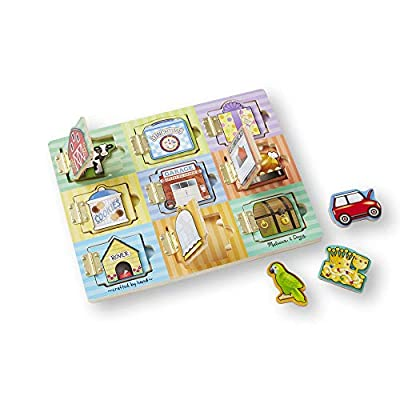Melissa & Doug Hide and Seek Wooden Activity Board With Wooden Magnets by Melissa & Doug
