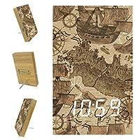 寝室用デジタル目覚まし時計キッチンオフィス3アラーム設定ラジオ木製卓上時計-シームレスな古い船の海賊の地図