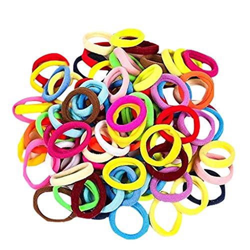Alaso 100 Pièces Liens de Cheveux Élastiques Mini Chouchous Bandes de Caoutchouc Minuscules Coloré Filles Porte-Queue de Cheval pour Bébé Enfants