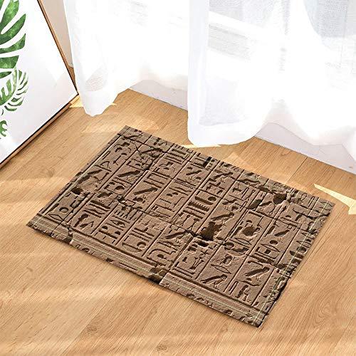 Kwboo Decoración De La Ducha Egipcia, Jeroglíficos Egipcios En Las Alfombras De Baño De Pared Vintage, Alfombrillas Antideslizantes para Pisos De Felpudo, Puertas De Entrada Interiores