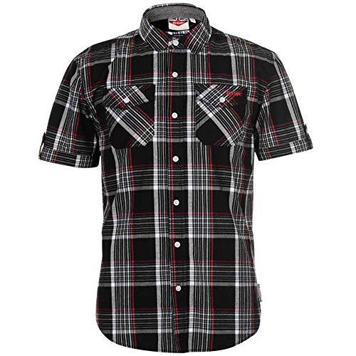 Lee Cooper - Camiseta de cuadros para hombre, talla S/S, color negro/blanco/rojo