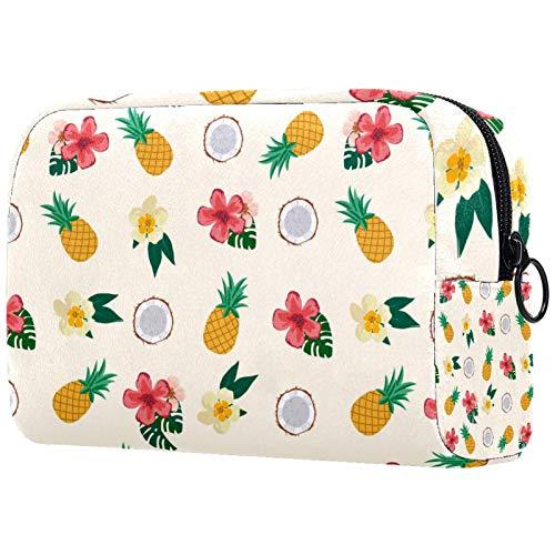 Kosmetiktasche Kulturbeutel Reise Business Handtasche Wasserdicht Gelb Ananas Rot Creme Blume