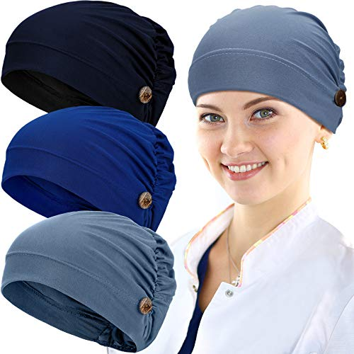 3 Pieces Bouffant Caps with Buttons Unisex Stretchy Headband Turban with Buttons for Women (Navy Blue, Royal Blue, Blue)