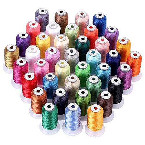 40 Color Polyester Embroidery Machine Thread | 550 Yards Each Spools | 120D/2 40WT Sewing Kits for Bro-Ther/Baby-Lock/Jano-me/Sin-ger/Pfaff/Husqvarna/Bernina Embroidery & Sewing Machines