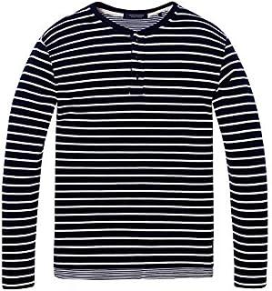 スコッチ&ソーダ ロンT ◆ SCOTCH&SODA Longsleeve Fake Layer T-Shirt ネイビーボーダー 292-63408 メンズ 長袖 トップス レイヤード風 おしゃれ