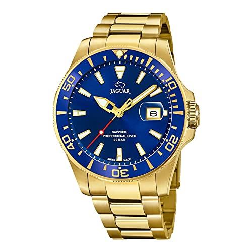 JAGUAR Reloj Modelo J877/1 de la colección Executive, Caja de 43,5 mm Azul con Correa de Acero Chapado para Caballero