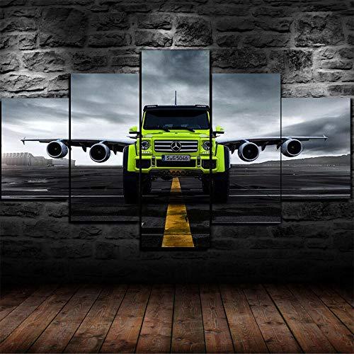 AWER Tejido no Tejido Impresión Benz G-klass AMG-plan Canvas Wall Art,Decoracion de Pared,5 Piezas Lienzos Cuadros Pinturas,Cuadro sobre Lienzo,Listo para Colgar,en un Marco
