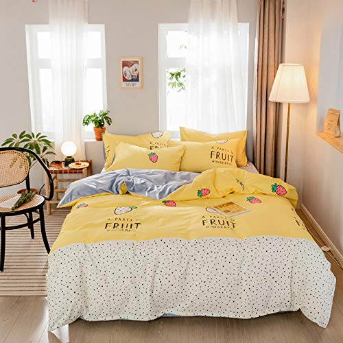 YCMFVG Bedding Set Double Bed 3D Polyester Fruity Duvet Cover And Pillowcases 3Pcs Natural Reversible King 220X240Cm