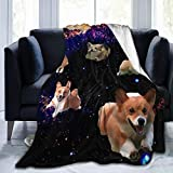 STWINW Throw Blanket Space Corgi Ultra-Soft Micro Fleece Blanket 60 X 50 Inches Warm Blanket for Womens Couch Travel Chair Blanket Lightweight Blanket