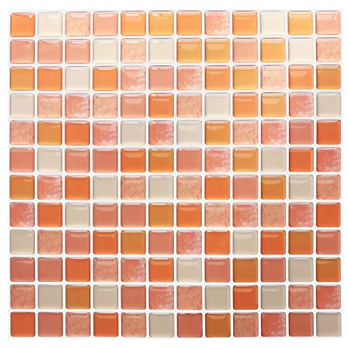 Yoillione 3D Mosaic Tile Sticker Removable Wallpaper Tile Orange, 3D Self Adhesive Wall Tiles Bathroom Wall Tiles for Kitchen Backsplash Orange, PVC Square Decorative Vinyl Tile Decals, 4 Sheets