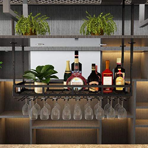 TTWUJIN Estante Bar Estante para vinos Restaurante Montado en la pared Estante para botellas de vino, Una sola capa Soporte industrial para copas de vino Colgante Altura ajustable Decoración del tech