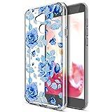 Kompatibel mit Huawei Honor 6A Hülle Schutzhülle Hülle,Bunte Gemalte Mandala Blumen Transparent TPU Silikon Handyhülle Tasche Hülle Durchsichtig Schutzhülle für Huawei Honor 6A,Blaue Rose Blumen