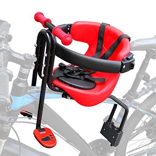 INNOLIFE Baby Bicycle Seat - Front Mounted Child Bike Seat with Handrail, Kids Bike Seat for Adult Bike