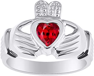 RYLOS CLADDAGH Claddah Love, Loyalty & Friendship Ring Ring with Heart Gemstone in Sterling Silver .925-6MM Color Stone - His/Hers Irish Wedding Bands