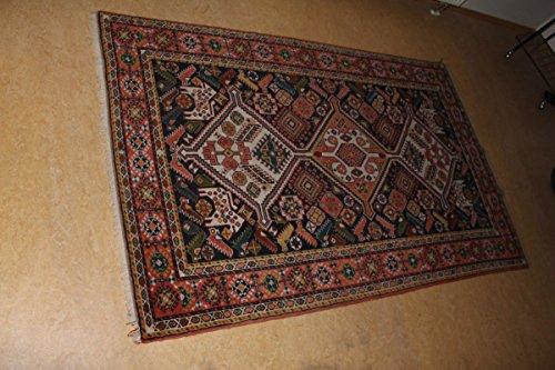 vintage13.de Original Antik handgeknüpfter Teppich Yalameh Ardebil Orient Geometrisch 201x126