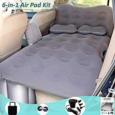 SAYGOGO Inflatable Car Air Mattress Travel Bed - Thickened Car Camping Bed Sleeping Pad with Electric Car Air Pump Flocking & PVC Surface Car Tent with 2 Pillows for SUV Sedan Pickup Back Seat (Gray)