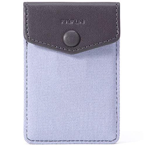 FRIFUN Kartenhalter für Handyrückseite mit Schnappverschluss, ultradünn, selbstklebend, für Handy, Android, alle Smartphones, RFID-blockierende Hüllen für Kreditkarten & Bargeld, Grau
