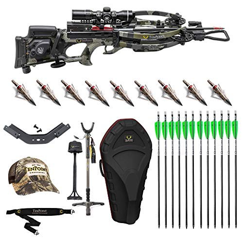 Tenpoint Nitro XRT 470FPS ACUdraw PRO Crossbow and Elite Accessory Bundle Includes: Crossbow, EVO-X Marksman Scope, Hard Case, Vanguard Shooting Stick, 9 Arrows with NAP Broadheads, Sling and Hat