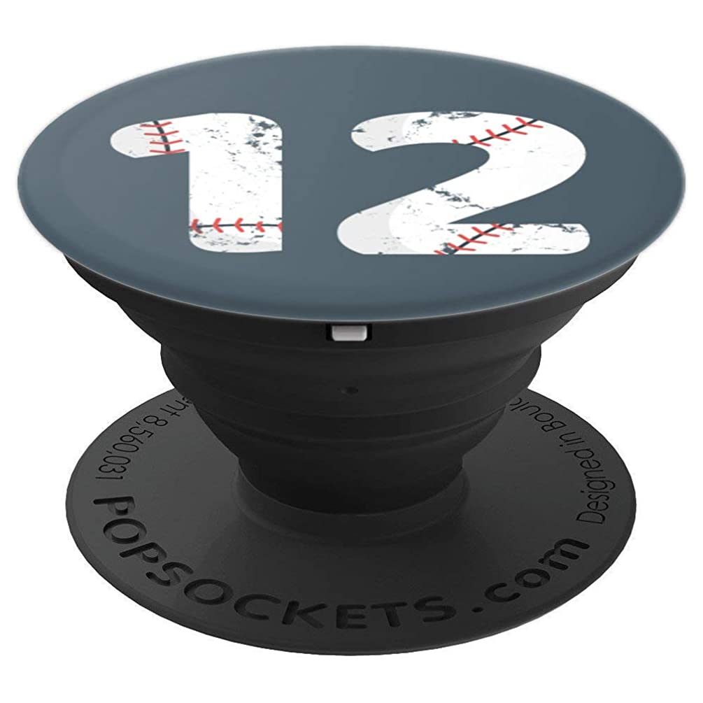 Number #12 BASEBALL Vintage Distressed Team Art - PopSockets Grip and Stand for Phones and Tablets
