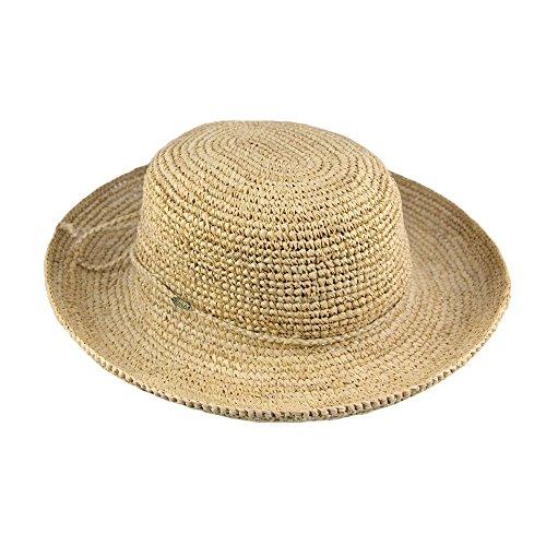 Village Hats Chapeau Canotier Pliable en Paille Raphia Torsadée Naturel Scala - Ajustable