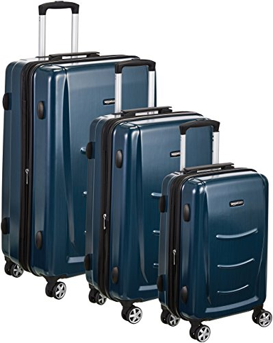 Amazon Basics - Set di trolley rigidi con rotelle girevoli, Set da 3 pezzi (55 cm, 68 cm, 78 cm), Blu Marino