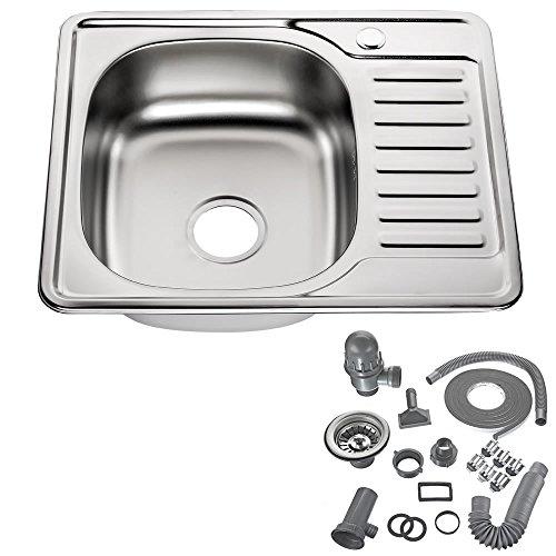 Melko Küchenspüle Einzelbecken Eckspüle Edelstahl Küche Spülbecken inkl. Ablaufgarnitur und Siphon