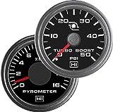 TruckMeter Hewitt Industries Combo Pyrometer & 50PSI Boost Gauge Kit
