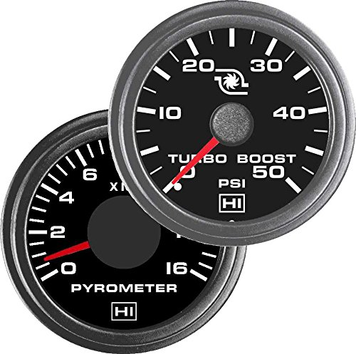 TruckMeter Hewitt Industries Combo Pyrometer & 50PSI Boost Gauge Kit