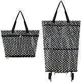 Bolsas plegables para carretilla, bolsa de compras plegable con ruedas, carrito de compras reutilizables, 2 a 1 carrito de compras para el supermercado, bolsa de capacidad resistente (círculo blanco)