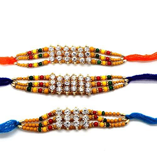 WhopperIndia Rakhi para Brother, Conjunto de tres Rakhi, Rakhi para Brother, Raksha Bandha Regalo para tu hermano