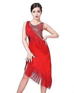 60fbdd64366 RUIBUY Robe Danse Latine Femme avec Paillettes Frange Salsa Rumba Paso  Doble Cha Cha Cha(