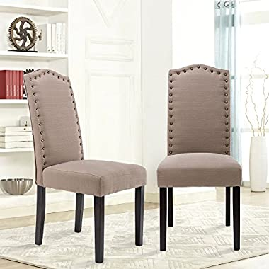 LSSBOUGHT Set of 2 Luxurious Fabric Dining Chairs with Copper Nails and Solid Wood Legs (Light Gray)