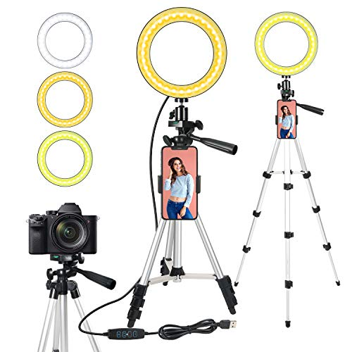 ODOM 6'' Selfie Ring Light with Stand for Cell Phone – Dimmable LED Camera Makeup Light for YouTube Tiktok Video Vlog Live Streaming – 3 Light Mode 9 Brightness Levels Ringlight for iPhone Android