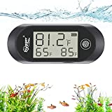 hygger Stick-on Digital Aquarium Thermometer with Alarm, Suitable for Saltwater and Freshwater, Mini Fish Tank Thermometer for Fish, Lizards, Turtles and Other Reptiles