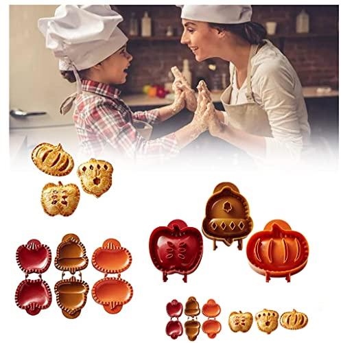Moldes para Tartas de Mano De OtoñO Manzana, Bellota Y Calabaza, Juego de 3, Mini Molde para Tartas, Herramienta de Moldeo para Prensar Masa, Envoltura para DecoracióN de Tartas de Calabaza