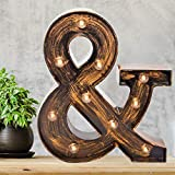 Pooqla Vintage Light Up Marquee Letters with Lights – Illuminated Industrial Style Lighted Alphabet Letter Signs - Coffee Bar Apartment Bedroom Wall Home Initials Decor - &