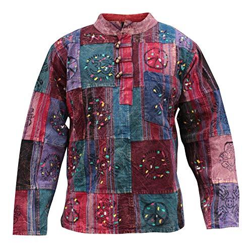 Shopoholic Mode Unisexe Coton épais Délavé patchwork chemise grand-père - Multicolore, M