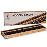 Yellow Mountain Imports Vintage Style Wooden Abacus (13.75 in) - Professional 17 Column Soroban Calculator with Reset Button Craftsmanship - Anti-Skid Rubber Feet