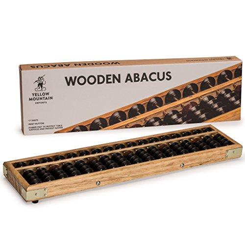 Yellow Mountain Imports Ábaco de madera de estilo antiguo - 36 Centímetros - Contador Profesional de Soroban de 17 Columnas con Botón de Reinicio