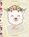 Alice Personalized Llama Sketchbook For Girls With Pink Name sketchbook / Notebook gift: Aliceth Birthday Gift ,Cute llama Gift for Doodle, Draw, Sketch, Create, 8.5x11-110 Pages, , Soft Cover, Matte Finish