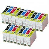 Cartuchos de tinta compatibles con Epson (T0555) T0551, T0552, T0553, T0554, Epson Stylus Photo RX420, RX425, RX520, R240 y R245 (20 unidades)